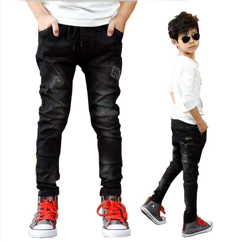 Black Color Straight Fit Mid Waist & Cotton Children Jeans with zipper Fly