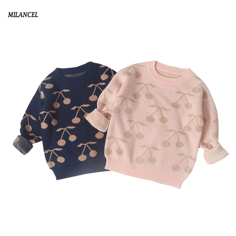 Cherry Pattern Long Sleeve & O-Neck Children Sweaters with prints