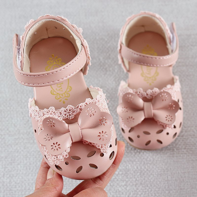 Hollow Out Patent Leather Ankle Strap & Lace Sandals with Bowknot