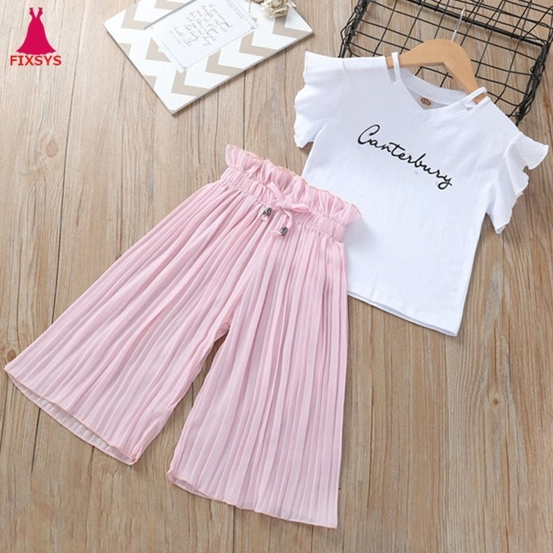 Solid Pattern Cotton + Polyester Short Sleeve T-Shirts & Wide Leg Pants Clothing Sets