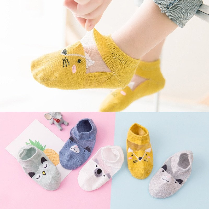 Printed Pattern Cotton + Spandex Thin & Comfortable Children Socks for Kids
