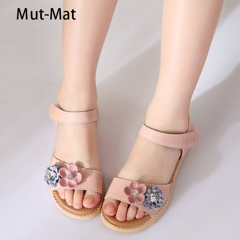 Flat Heel Soft Leather + PU Lining & Ankle Strap Sandals with Floral design