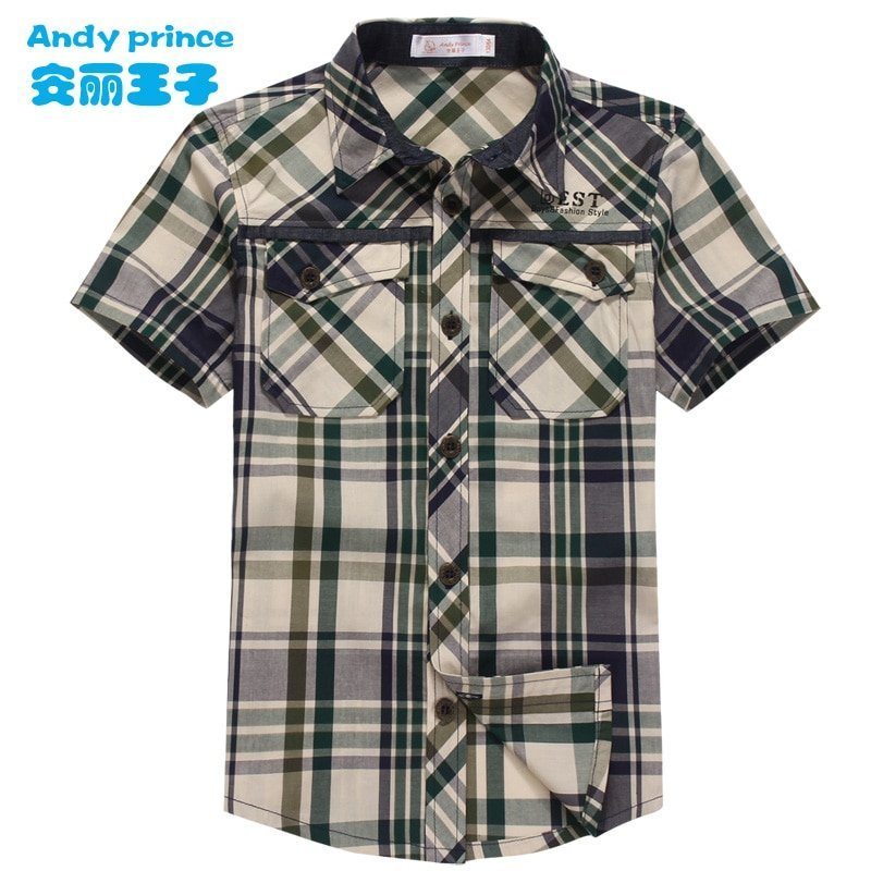 Plaid Pattern Short Sleeve Woven Fabric & Cotton Children Shirts with Breathable