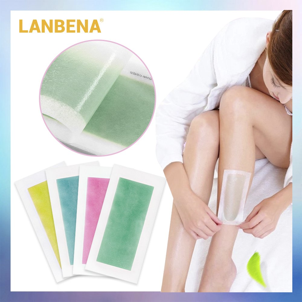 Lanbena 10 Pairs Hair Removal Wax Strips Papers Natural Beeswax
