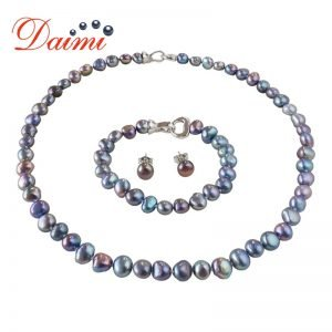 Baroque Pearl Jewelry Sets Silver 925 Jewelry Pearl Sets Necklace/Bracelet/Earrings For Women 1