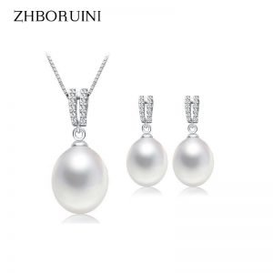 ZHBORUINI Pearl Jewelry Set Natural Freshwater Pearl Necklace Drop Earrings Zircon 925 Sterling Silver  1