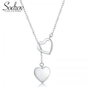 SODROV Genuine 925 Sterling Silver Double Heart Necklace Pendant High Quality  1