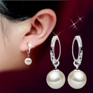 925 Sterling Silver Elegant Beauty Round White Pearl Stud Earrings Women  1